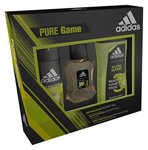 Adidas Pure Game Eau De Toilette/Body Spray und Duschgel Trio
