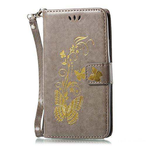 ISAKEN Motorola Moto G5 Hülle, PU Leder Flip Cover Brieftasche Geldbörse Ledertasche Handyhülle Tasche Case Schutzhülle mit Handschlaufe Strap für Motorola Moto G5 - Gold Schmetterling Grau Matt Faux-leder