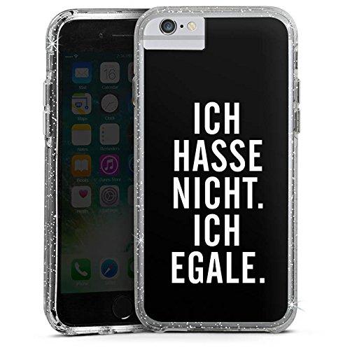Apple iPhone X Bumper Hülle Bumper Case Glitzer Hülle Humor Egal Sayings Bumper Case Glitzer silber