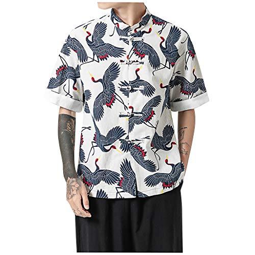 FeiBeauty☀‿☀ Camicia Stampata Uomo, Camicia Stampata da Uomo Slim Fit Manica Corta Hawaiana Casual Camicia Hawaiana per Uomo