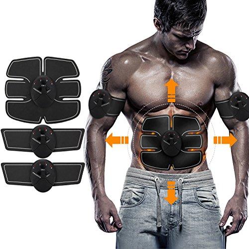 Bauchmuskeltrainer Neue Wireless Smart Bauchmuskeln Fitness Gerät Bauchmuskeltrainer Elektrostimulation Massagegerät EMS-Training Muskelaufbau und Fettverbrennung (schwarz) Creti
