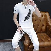 WLG Trajes Ocasionales de la Moda de Los Hombres Jóvenes Hermosos Salvajes Dos Piezas,Segundo,L