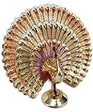 Rastogi Handicrafts Brass Showpiece Dancing Peacock (7 inch, Multicolour)