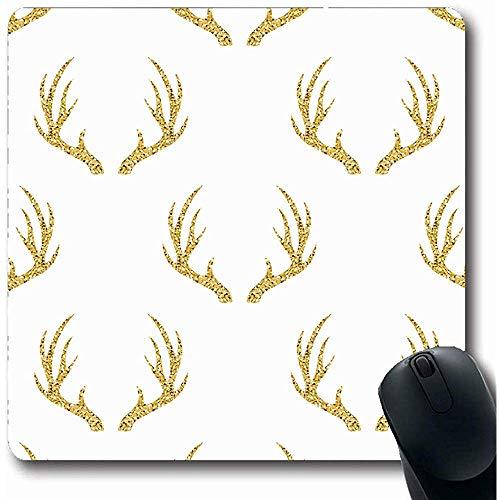 Mousepads Natürliche Silber Deer Gold Antler Muster Auf Raster Rentier Head Horn Moose Abstract Design Glänzende Längliche Form 18X22Cm Rutschfeste Gaming Mouse Pad -