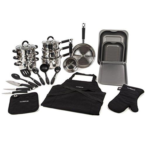 Tower Essentials Kitchen Set, Stainless Steel, 22-Piece