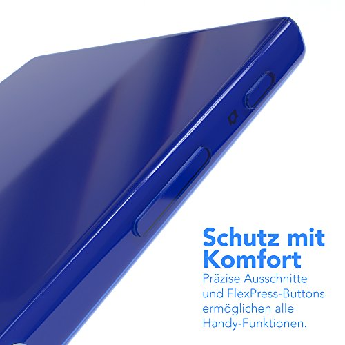"""EAZY CASE Handyhülle für Sony Xperia Z5 Hülle - Premium Handy Schutzhülle Slimcover """"Brushed"""" Aluminium Design - TPU Silikon Backcover in brushed Rosa Clear Blau"""