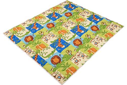 IDEENREICH Baby Krabbeldecke Krabbeltraum  Safari   RUTSCHFEST   130x150cm   ideal als Spieldecke, Krabbeldecke und Laufgittereinlage Rutschfest