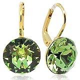 Ohrringe mit Kristallen von Swarovski® Grün Gold Peridot NOBEL SCHMUCK