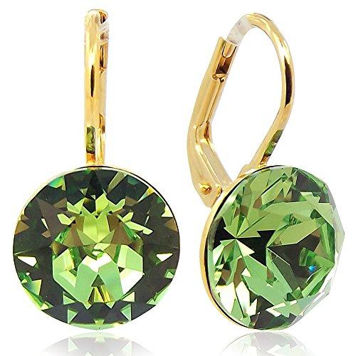 Ohrringe mit Kristallen von Swarovski Grün Gold Peridot NOBEL SCHMUCK