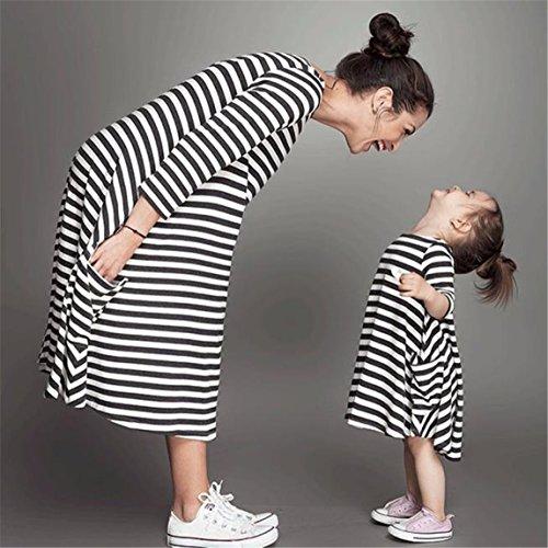 Vovotrade ❤❤Frauen Schwarzes Und Weißes Gestreiftes Kleid Beiläufig Familie Kleidet Balck