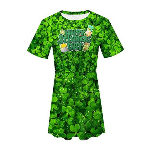 Lazzboy Kleid Damenkleid St. Patrick's Day - Grünes, kurzärmliges mit O-Ausschnitt und elastischem ()