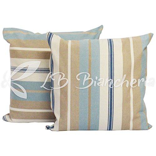 Coppia cuscini arredo varazze, imbottitura + federa con zip - cm 40x40 - azzurro