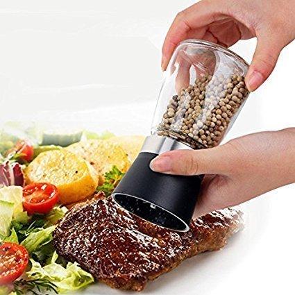LOHAS Home Utensilio de cocina. Triturador manual en vidrio de sal y pimienta / Zanthoxylum / Salero / Pimentero / Especiero, 1 pieza, Negro
