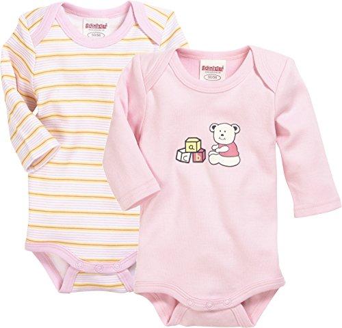 Schnizler Unisex Baby Body Langarm, 2er Pack Bärchen, Uni und Geringelt, Oeko-Tex Standard 100, (rosa 14), 86 (Herstellergröße: 86/92)
