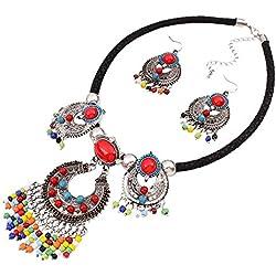 YAZILIND Collar del Collar del Babero del Estilo étnico Declaración Gargantilla con los Pendientes fijó para Las Mujeres