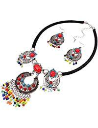 Yazilind Ethnic Style Multicolor Bib Statement Choker Collar Necklace with Earrings Set for Women