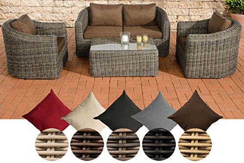 CLP Poly-Rattan Gartenmöbel Lounge-Set BERGEN, Alu-Gestell, 4 Sitzplätze: 2-1-1, 5 mm RUND-Geflecht Rattan Farbe grau-meliert, Bezugfarbe: Terrabraun