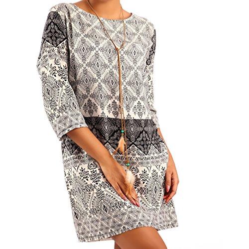 Minikleid Tunika Hippie Oversize Long-Shirt Rundhals Strandtunika, Farbe:Creme/Muster1;Größe:L/XL - Creme Paisley Shirt
