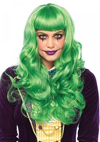 Grüne Joker Damen-Perücke mit Pony und Wellen von Leg Avenue lang Wellen Haare Clown Fantasy