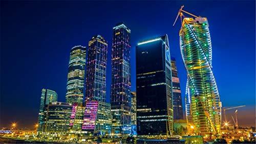 Puzzle Puzzles 1000 Stück Moskau New City River Gebäude Nachtlichter Für Erwachsene Familie Geschenk - New River Gebäude