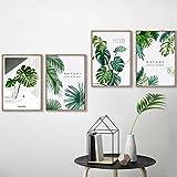 Iwallsticker Impression sur Toile Motif Plante Tropicale Verte Feuille de Palmier pour Décoration Murale, 30x50cmx4pcs no frame
