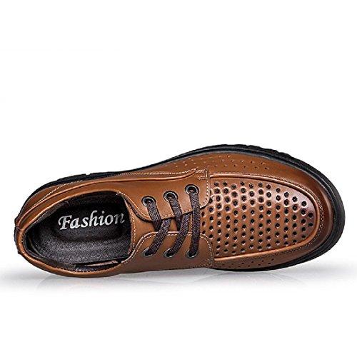 Uomo traspirante Tempo libero Scarpe di pelle Aumenta le scarpe Moda Scarpe casual Antiscivolo Scarpe da lavoro Taglia larga euro DIMENSIONE 37-48 Brown