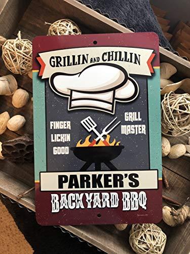 Eyrrme Personalisierter Hintergrund BBQ Schild Grilling Zone Metallschild Home Decor Camping Schild Grill Schild BBQ Schild Geschenk Aluminium Schild