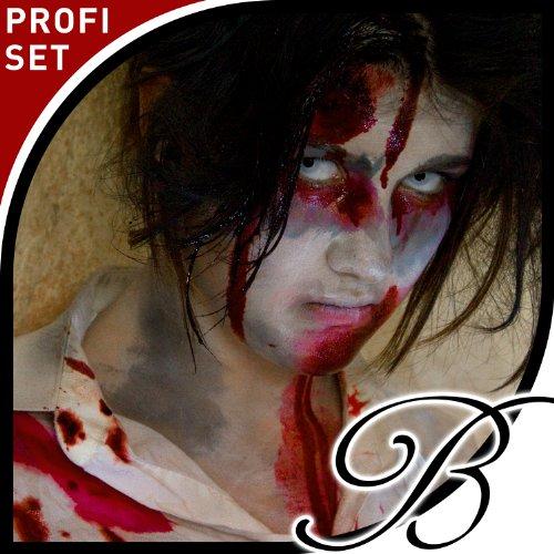 (Zombie Schminke - Profi Schminkset inkl. realistischem Filmblut + Schminkanleitung (hochwertigste Komponenten für filmreife Verkleidung))