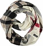 FRAAS Damen-Loop-Schal kariert aus Cashmink - Made in Germany - wärmender Rund-Schal - Winter-Schlauch-Schal weicher als Kaschmir Naturweiss