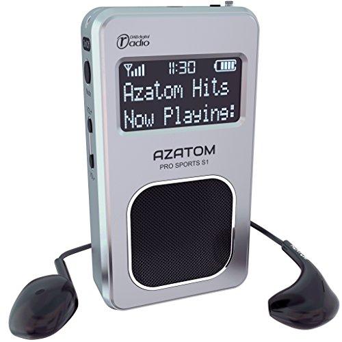 Pro Sports S1 DAB Tragbares Digitalradio: Azatom Pro Sports S1 - DAB DAB + und FM - Eingebauter Akku (bis zu 20 Stunden Spielzeit) - Kompakt - Eingebauter Lautsprecher - Kopfhörer - Silber