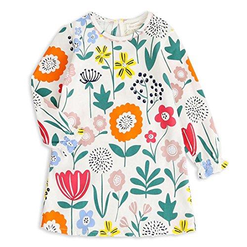 HUIHUI Blumen Lange Ärmel Kleid Mädchen Billig Sommer Herbst Party Petticoat Kleid Casual Tutu Rock Cocktailkleid Verrückte, 2-8 Jahr (6 (6-7Jahr), ()