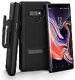 Encased Samsung Galaxy Note 9 robuste Premium Gürtelclip Tasche mit Metall Kick Stand & Slim-Fit Cover Case als Grip Schutzhülle in Schwarz [Slimline Series]