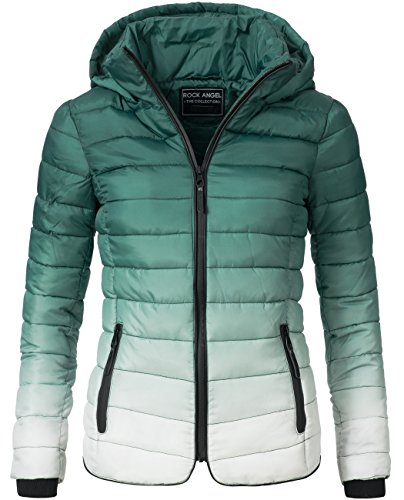 Rock Angel Damen Jacke Steppjacke mit Farbverlauf 44366A Grün Gr. M (Dye-trend Dip)
