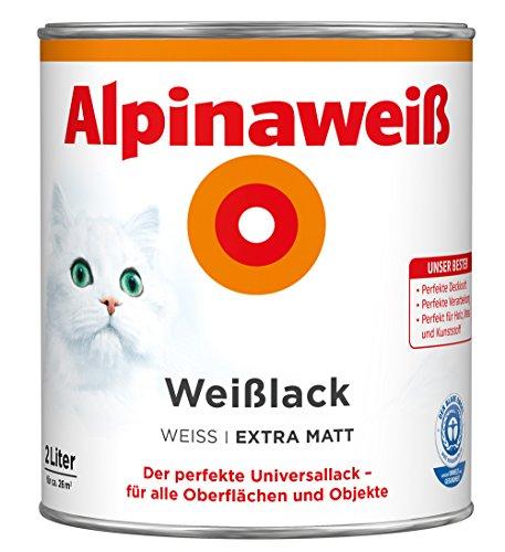 Preisvergleich Produktbild ALPINA Alpinaweiss Lack Farbe Weisslack weiß 2,0 Liter EXTRA Matt