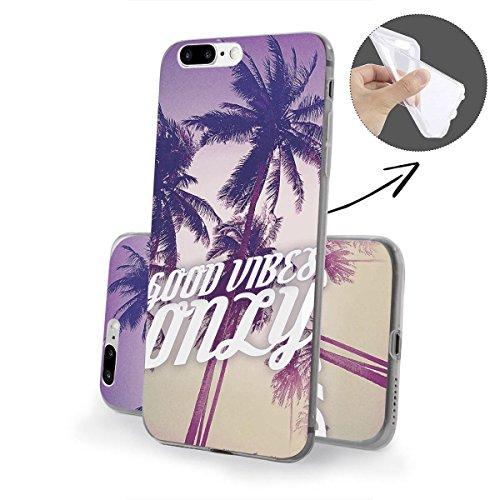 finoo | iPhone 8 Plus Weiche flexible Silikon-Handy-Hülle | Transparente TPU Cover Schale mit Motiv | Tasche Case Etui mit Ultra Slim Rundum-schutz | Cute but psycho Good vibes only