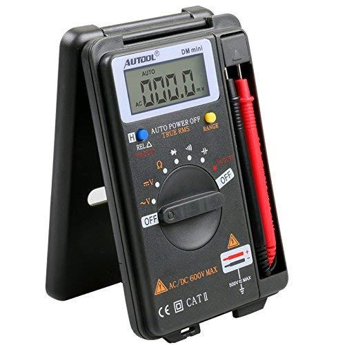 AUTOOL Mini Bolsillo Digital Voltímetro Amperímetro Probador Resistencia Ohm Volt Amperímetro Rango automático 4000 Cuenta Tester CATII