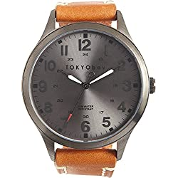 Tokyobay T227-TAN Herren Edelstahl Mason Tan Lederband Silber Zifferblatt Watch