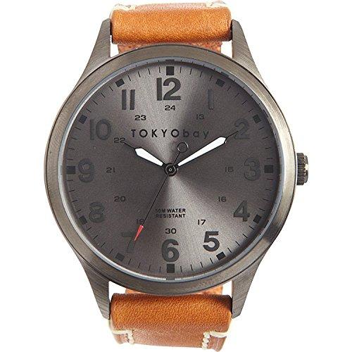 tokyobay-t227-tan-herren-edelstahl-mason-tan-lederband-silber-zifferblatt-watch