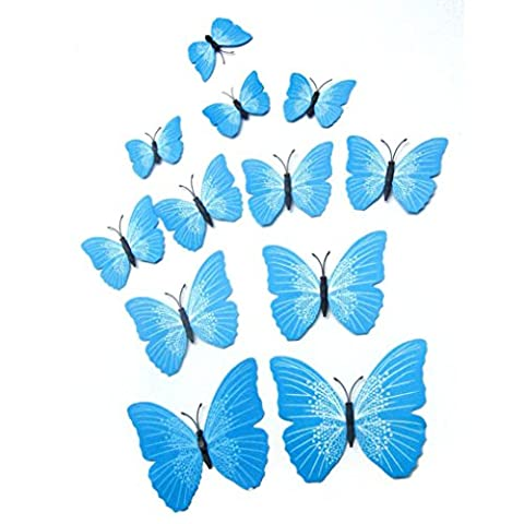 Kingko Butterfly Decal 12x 3D Magnet Butterfly Wall Sticker Fridge Magnet Sticker Room Decor Decal Applique for Kitchen, Bedroom, Cafe, Freezer, and More (Blue)