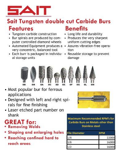 United Abrasives SAIT 45623 Tungsten Carbide Die Grinder Bur SC3 6 Shank Double Cut//Alternate Cut 3//8 x 3//4