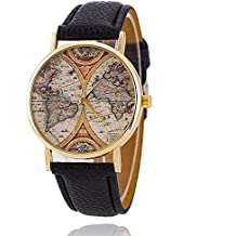 Bracciale Unisex Orologio al Quarzo Alt mappa del mondo oro Cinturino in pelle nero