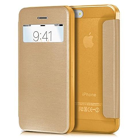 iPhone 5S Hülle Gold mit Sicht-Fenster [OneFlow Focus Cover] Ultra-Slim Schutzhülle Dünn Handyhülle für iPhone 5/5S/SE Case Flip Handy-Tasche