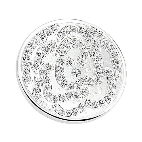 Akki jewelry collana da donna con ciondolo a forma di moneta da 33 mm per medaglione, in acciaio inox, con cristalli swarovski, argento, rosa, 70 cm e acciaio inossidabile, colore: rosa, cod. akc-011-257-001