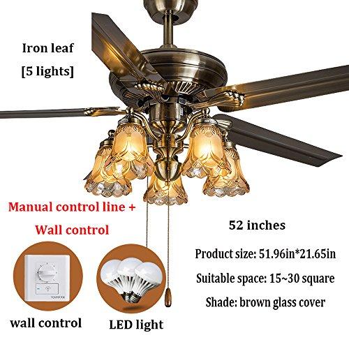 Deckenventilator, LED-Licht, antike Messing Deckenventilator Retro, geräuscharm, 42, 48, 52 Zoll, Fernbedienung, Eisen Blatt/Holz Blatt kann eine Vielzahl von Stilen wählen -
