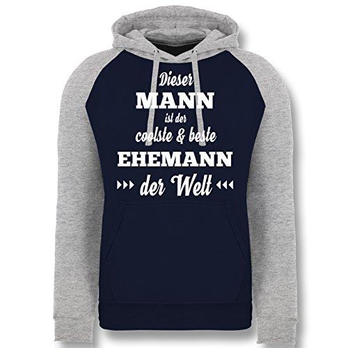 Typisch Männer - Dieser Mann ist der coolste und Beste Ehemann - XL - Dunkelblau/Grau meliert - JH009 - Baseball Hoodie (Coolsten Kostüm Ideen)