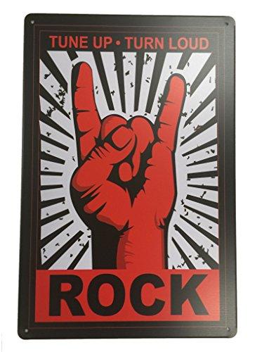 Antike Reproduktion Möbel (Tune Up Turn Loud Rock Blechschild Metall Neuheit Retro Vintage Blechschild Wandschild 20x 30cm Deko Schild–Ideal für Pub Bar Office Home Schlafzimmer Esszimmer Küche–Cool Classic)