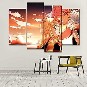 -Fairy Tail,60X80cm sans Cadre D/écoration - Image sur Toile Neyouyou Impression sur Toile 60X80cm 4 Parties Images Tableau Motif Moderne Photo