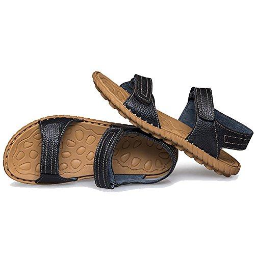 British Leather Men Handmade Sandals Beach extérieure Brun Noir Black