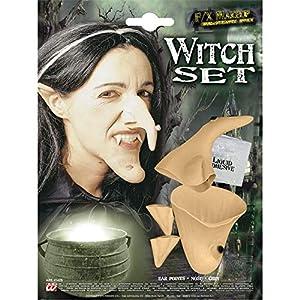 WIDMANN Sancto Señoras Bruja Conjunto Prof (Oídos Nariz Chin) Accesorios para Disfraces de Halloween