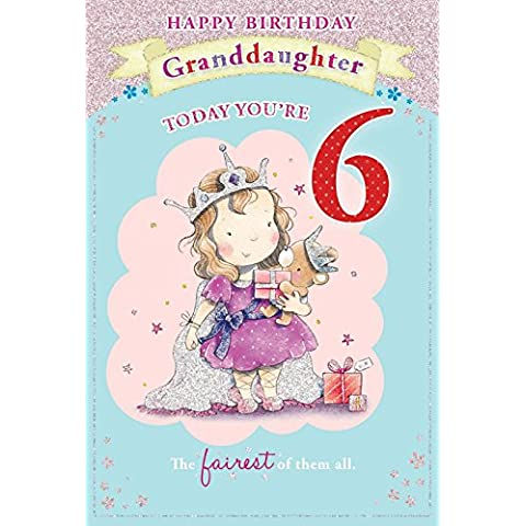 Biglietto di auguri per 6° compleanno della nipotina, motivo: bambina con pacchetto regalo, 23 x 15 cm
